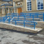 Ramp walkway railings at a school in Bradford.